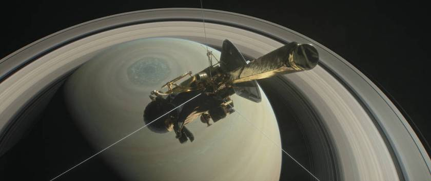 This artist's rendering shows NASA's Cassini spacecraft above Saturn's northern hemisphere