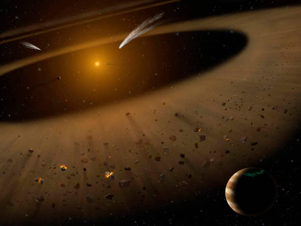 Artist's illustration of the Epsilon Eridani system showing Epsilon Eridani and a Jupiter-mass planet orbiting its parent star.