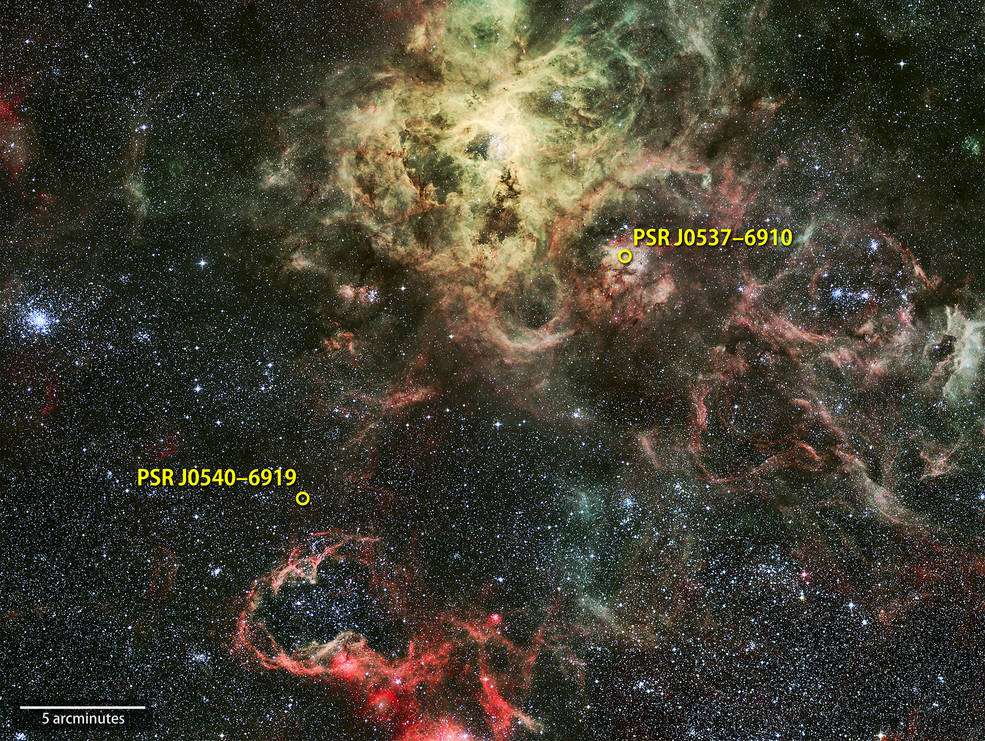 NASA's Fermi Gamma-ray Space Telescope has detected the first extragalactic gamma-ray pulsar, PSR J0540-6919, near the Tarantula Nebula (top center) star-forming region in the Large Magellanic Cloud, a satellite galaxy that orbits our own Milky Way. Fermi detects a second pulsar (right) as well but not its pulses. PSR J0540-6919 now holds the record as the highest-luminosity gamma-ray pulsar. The angular distance between the pulsars corresponds to about half the apparent size of a full moon. Background: An image of the Tarantula Nebula and its surroundings in visible light.