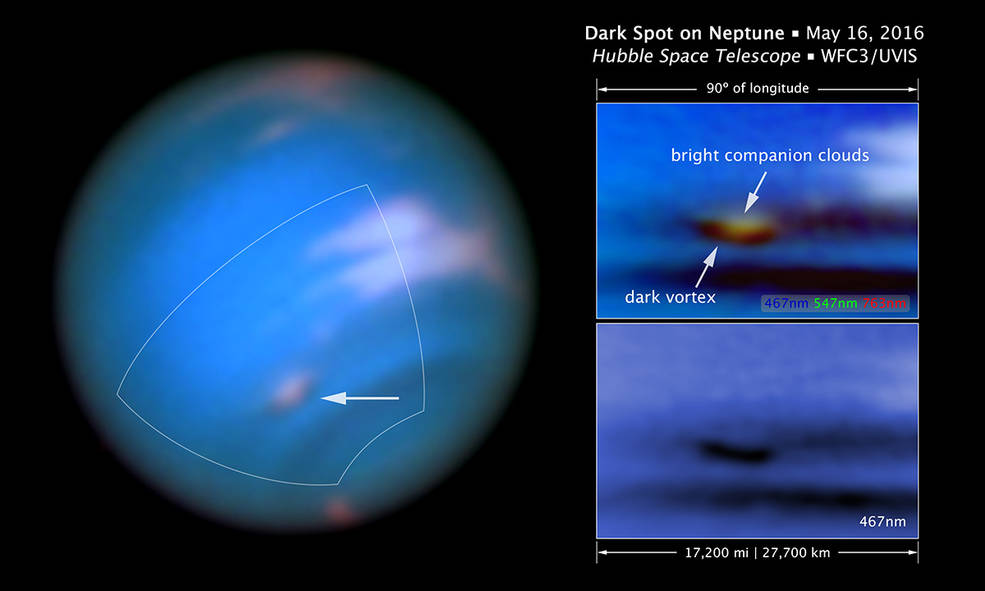 Annotated image showing Neptune's dark vortex