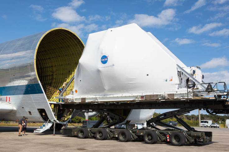 NASA's Orion spacecraft is carefully aligned for loading into the agency's Super Guppy aircraft.
