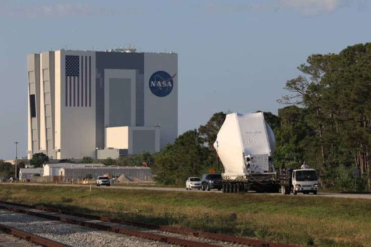 NASA's Orion spacecraft is transported to the Neil Armstrong Operations and Checkout Building at Kennedy on March 25, 2020.