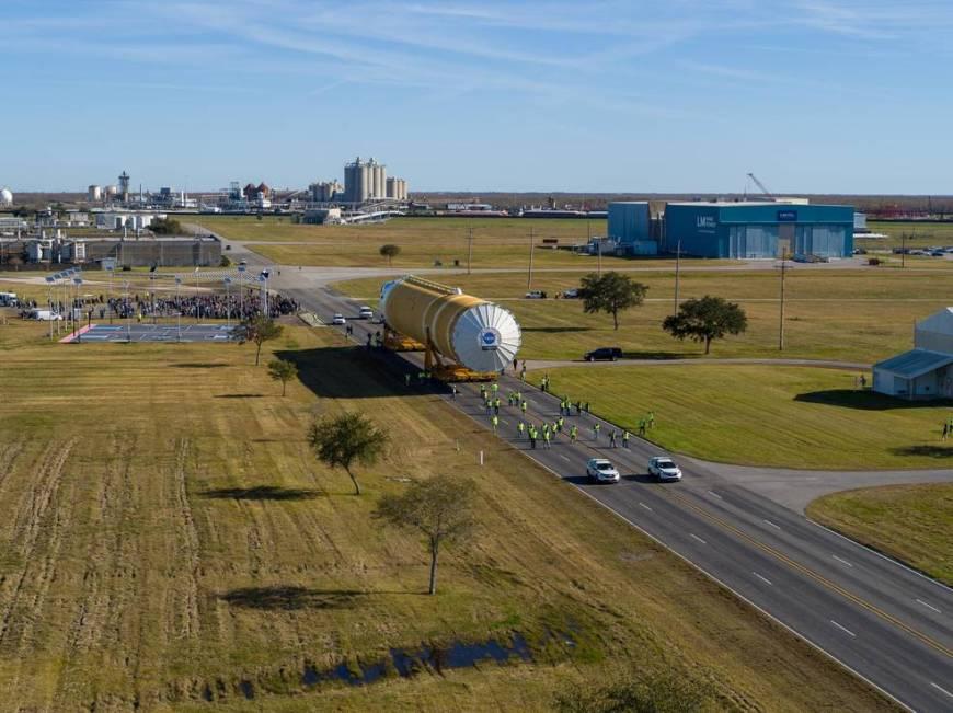 NASA Move Team Transports SLS Rocket Stage to Stennis Test Stand