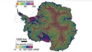 Antarctic Ice! NASA/UC Irvine map of ice velocity in Antarctica
