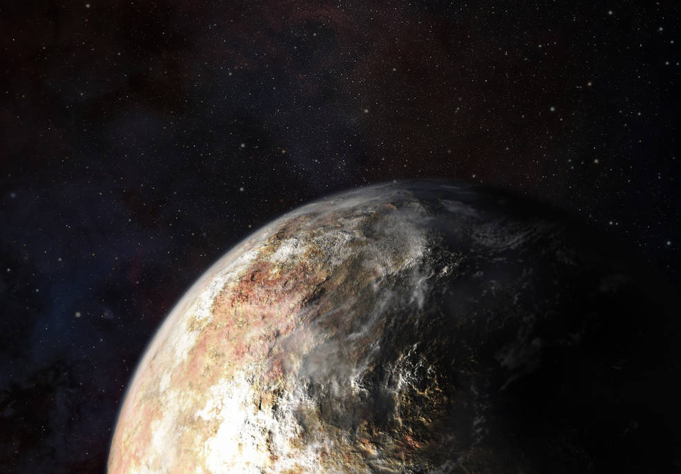 An artist's conception of clouds in Pluto's atmosphere.