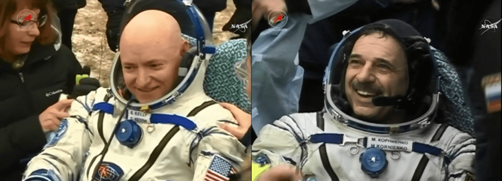 NASA astronaut and Expedition 46 Commander Scott Kelly and his Russian counterpart Mikhail Kornienko enjoy the cold fresh air back on Earth after their historic 340-day mission aboard the International Space Station.