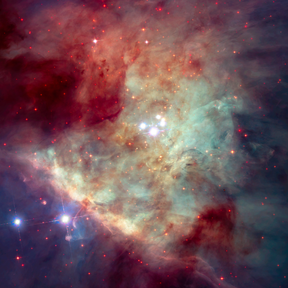 The Orion Bar is a diagonal, ridge-like feature of gas and dust in the lower left quadrant of this image of the Orion Nebula.