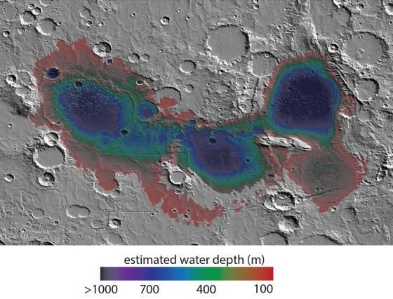 Eridania basin of southern Mars