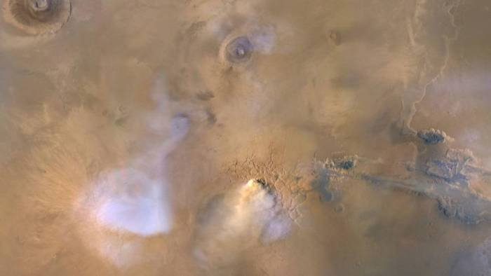 "The yellow-white cloud in the bottom-center of this image is a Mars ""dust tower"""
