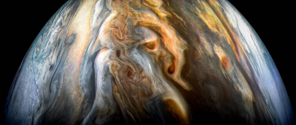 The JunoCam imager aboard NASA's Juno spacecraft captured this image of Jupiter's southern equatorial region on Sept. 1, 2017. The image is oriented so Jupiter's poles (not visible) run left-to-right of frame. Credits: NASA/JPL-Caltech/SwRI/MSSS/Kevin M. Gill