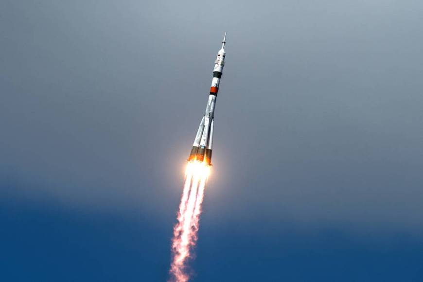The Soyuz MS-16 lifts off from Site 31 at the Baikonur Cosmodrome in Kazakhstan Thursday, April 9, 2020