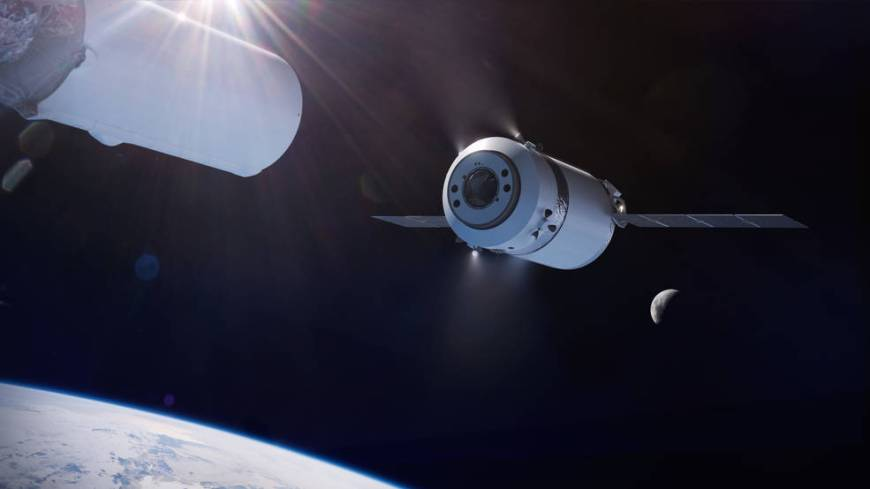 Illustration of the SpaceX Dragon XL as it is deployed from the Falcon Heavy's second stage in high Earth orbit