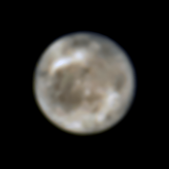 This image presents Jupiter's moon Ganymede as seen by the NASA's Hubble Space Telescope in 1996.