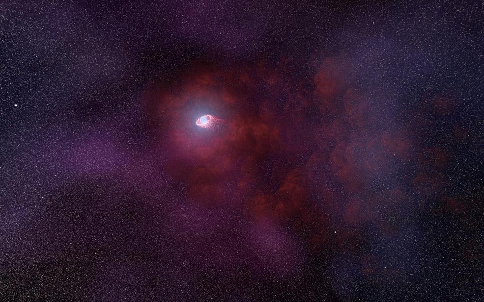 star with puffy red nebula