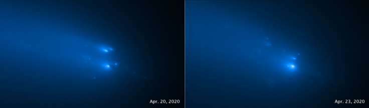 two blue-hued images of fragmenting comet C/2019 Y4 (ATLAS), as seen by Hubble