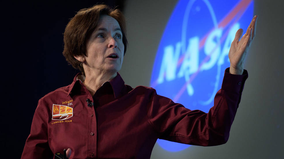 Sue Smrekar, seen here at the 2018 media briefing before the landing of NASA's Mars InSight