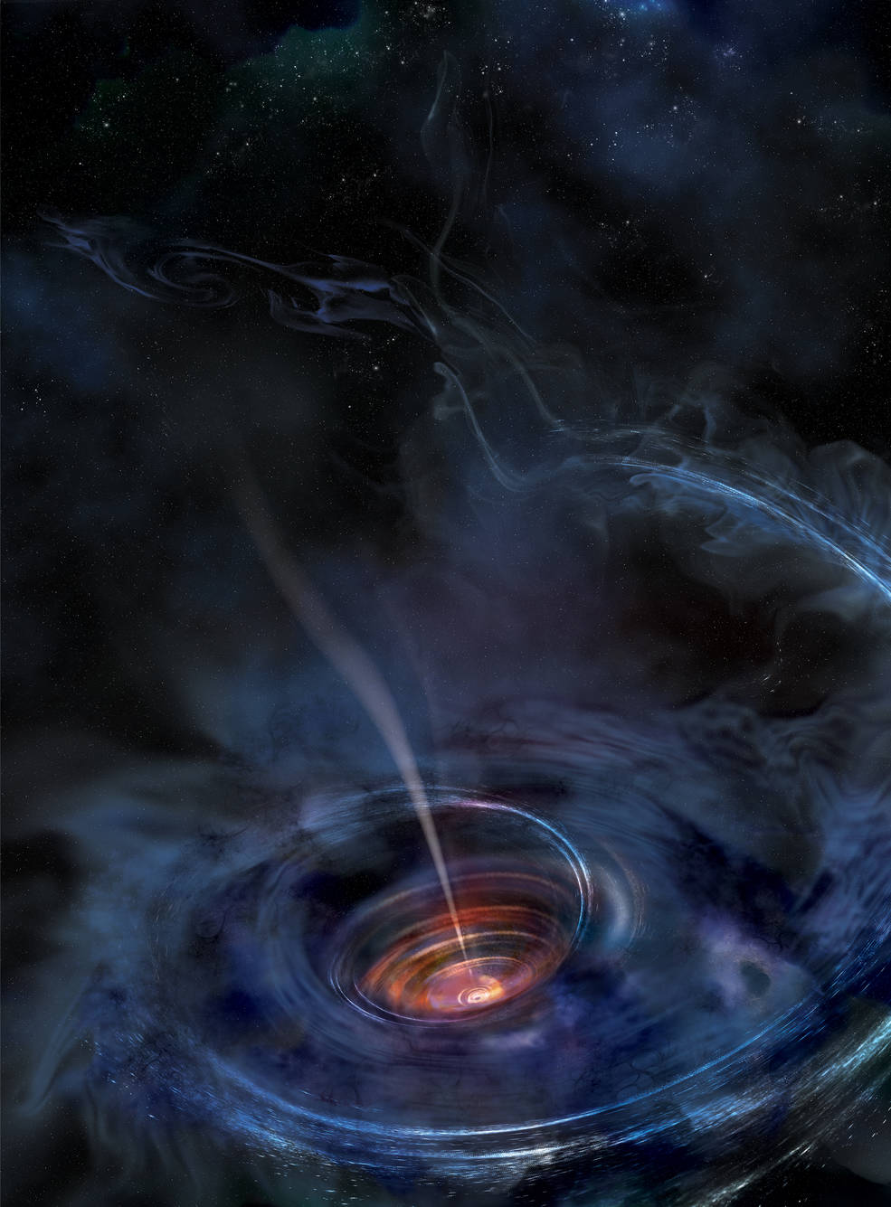 In this artist's rendering, a thick accretion disk has formed around a supermassive black hole following the tidal disruption of a star that wandered too close. Stellar debris has fallen toward the black hole and collected into a thick chaotic disk of hot gas. Flashes of X-ray light near the center of the disk result in light echoes that allow astronomers to map the structure of the funnel-like flow, revealing for the first time strong gravity effects around a normally quiescent black hole.