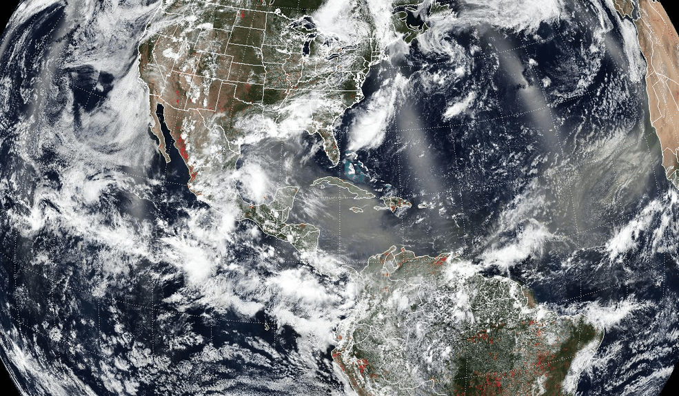 This image is a composite of the OMPS aerosol index and the VIIRS visible image.