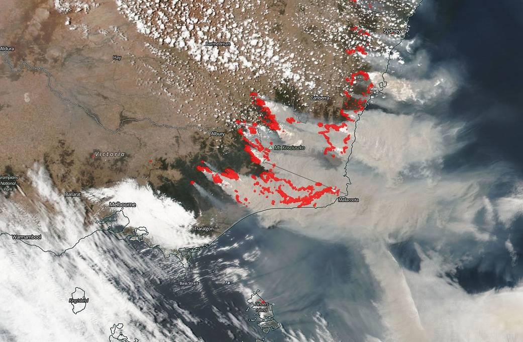 Imagen de Suomi NPP de los incendios de Australia