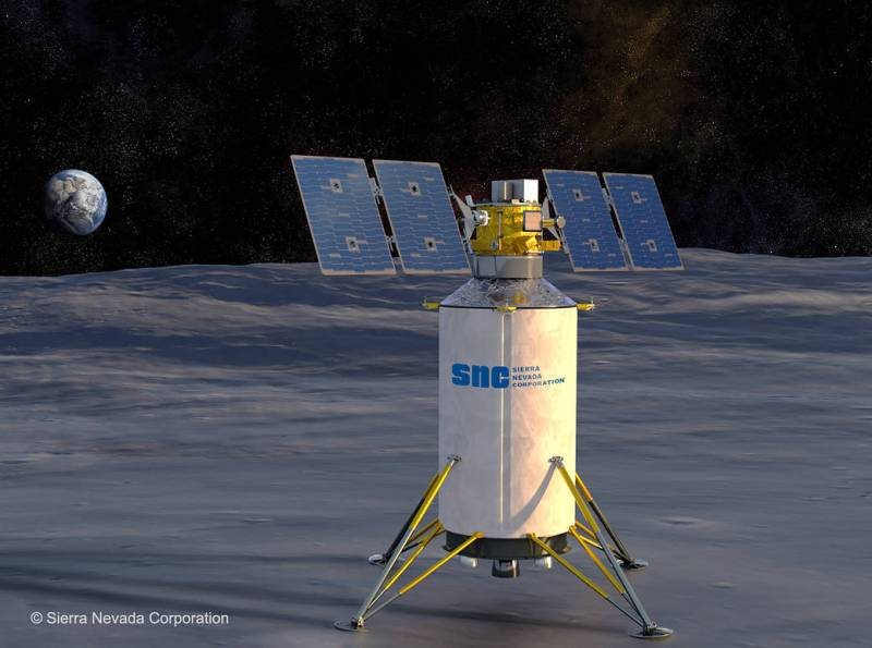 Artist's concept of a Sierra Nevada Corp. commercial lunar lander on the Moon. Image credit: Sierra Nevada Corp.