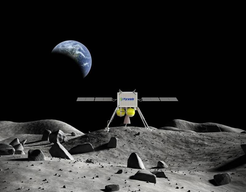 Artist's concept of a Tyvak Nano-Satellite Systems Inc. commercial lunar lander on the Moon. Image credit: Tyvak Nano-Satellite Systems Inc.