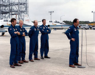 STS-26 Discovery crew at Kennedy Space Center.