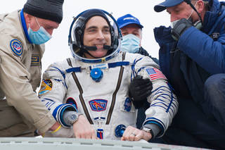 astronaut Chris Cassidy after existing the Soyuz vehicle on earth