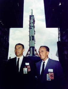 Apollo chief designer Wernher von Braun and Kennedy Space Center Director Kurt Debus
