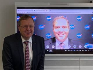 NASA Administrator Jim Bridenstine (on screen) and ESA (European Space Agency) Director General Jan Wörner