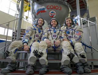 Expedition 50 crew members Thomas Pesquet, Oleg Novitskiy, and NASA astronaut Peggy Whitson