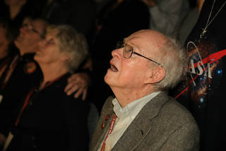 Physicist Eugene Parker watches the launch of the spacecraft that bears his name, NASA's Parker Solar Probe, on Aug. 12, 2018.
