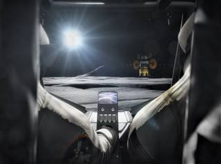 Concept image showing the backseat view in a Lunar Terrain Vehicle.