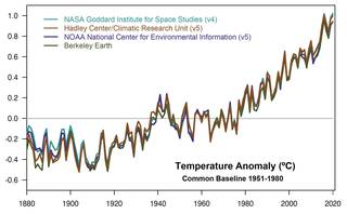 This plot shows yearly temperature anomalies from 1880 to 2019,