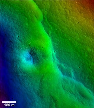 lunar topography in false color