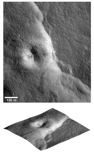 lunar topography from above and an angle