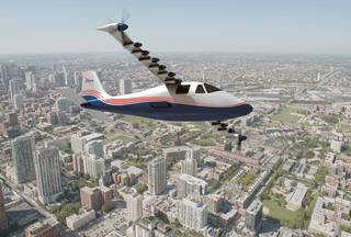 This artist's concept of NASA's X-57 Maxwell aircraft shows the plane's specially designed wing and 14 electric motors.