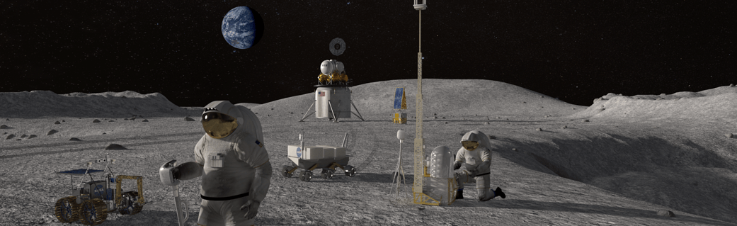 Astronauts on lunar surface