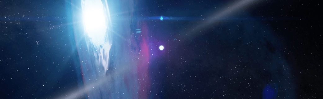 artist concept of binary star system with pulsar