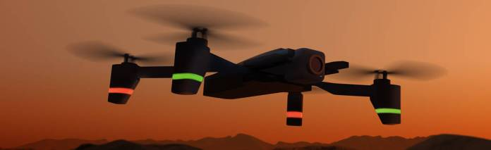 Illustration of a drone in silhouette against a red, smoke-filled sky