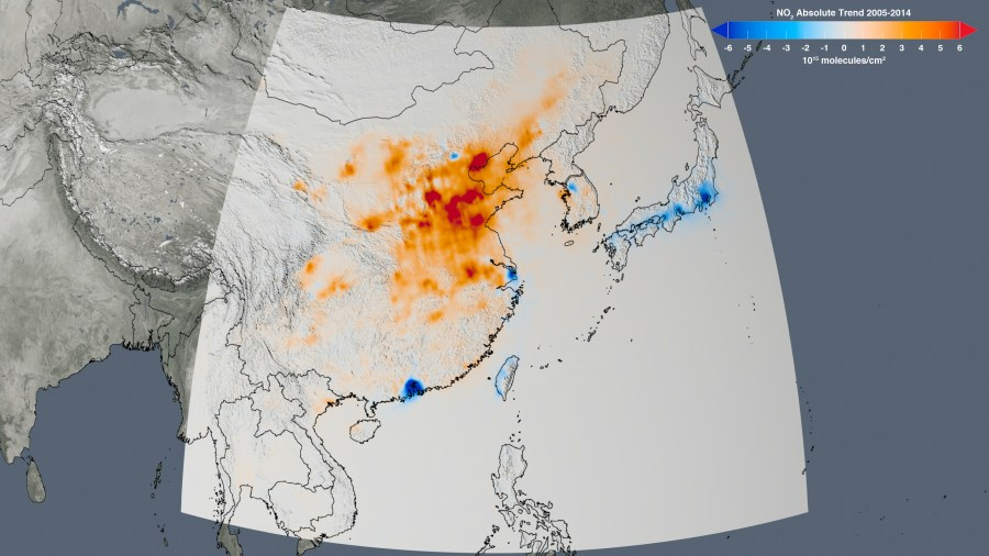 New NASA Satellite Maps Show Human Fingerprint on Global Air Quality     The trend map of East Asia shows the change in nitrogen dioxide  concentrations