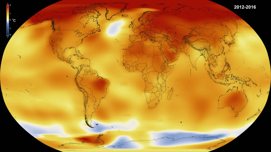 NASA  NOAA Data Show 2016 Warmest Year on Record Globally   NASA Climate      Data visualization of 2016 global temperatures