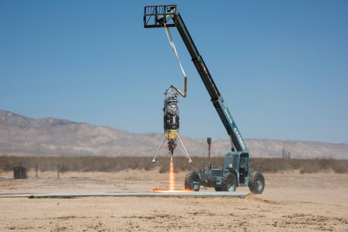 Masten Space Systems' Xodiac rocket flight tests Honeybee Robotics pneumatic sampler collection system, PlanetVac, in Mojave Desert. Credits: NASA Photo / Lauren Hughes