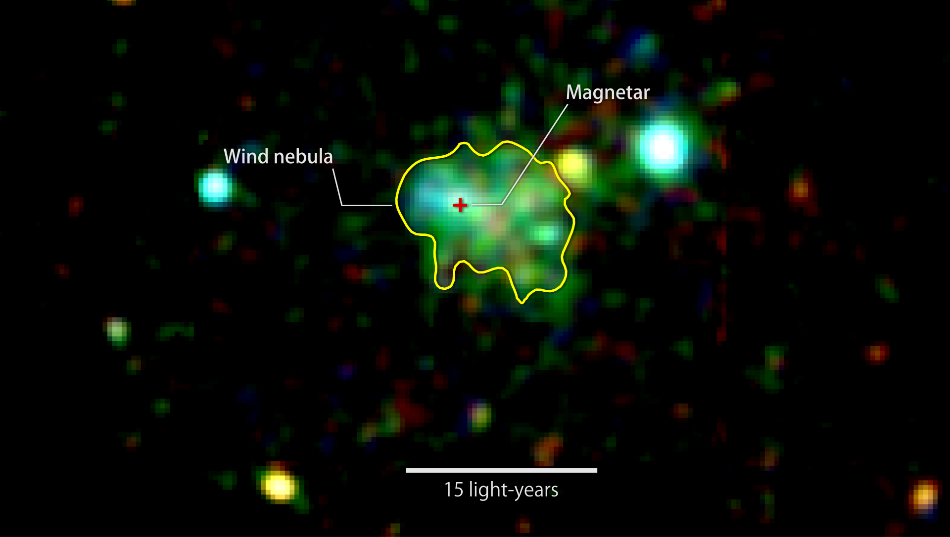 This X-ray image shows extended emission around a source known as Swift J1834.9-0846, a rare ultra-magnetic neutron star called a magnetar. The glow arises from a cloud of fast-moving particles produced by the neutron star and corralled around it. Color indicates X-ray energies, with 2,000-3,000 electron volts (eV) in red, 3,000-4,500 eV in green, and 5,000 to 10,000 eV in blue. The image combines observations by the European Space Agency's XMM-Newton spacecraft taken on March 16 and Oct. 16, 2014.