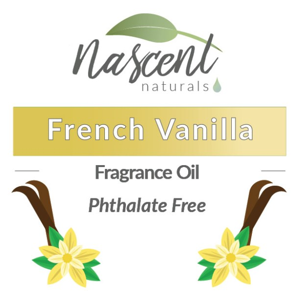 """Text and cartoon images of Vanilla Beans and Vanilla Flowers in front of a white background. The text says, """"French Vanilla Fragrance Oil Phthalate Free"""". Up top is the Nascent Naturals logo."""