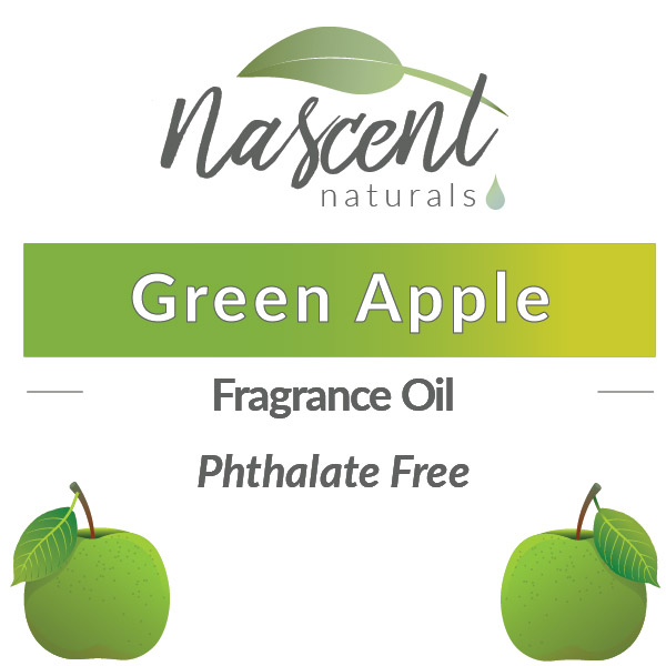 """Text and cartoon images of Green Apples in front of a white background. The text says, """"Green Apple Fragrance Oil Phthalate Free"""". Up top is the Nascent Naturals logo."""