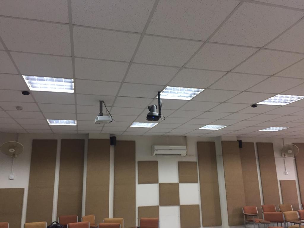 Video conferencing system with sound proofing panels for hybrid class rooms