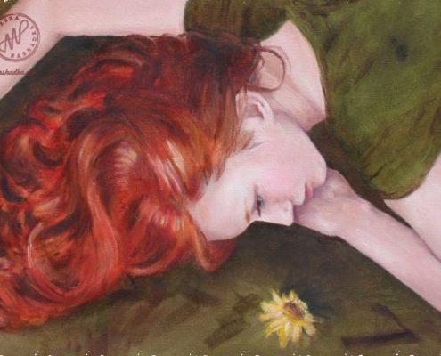 Aesta's red hair
