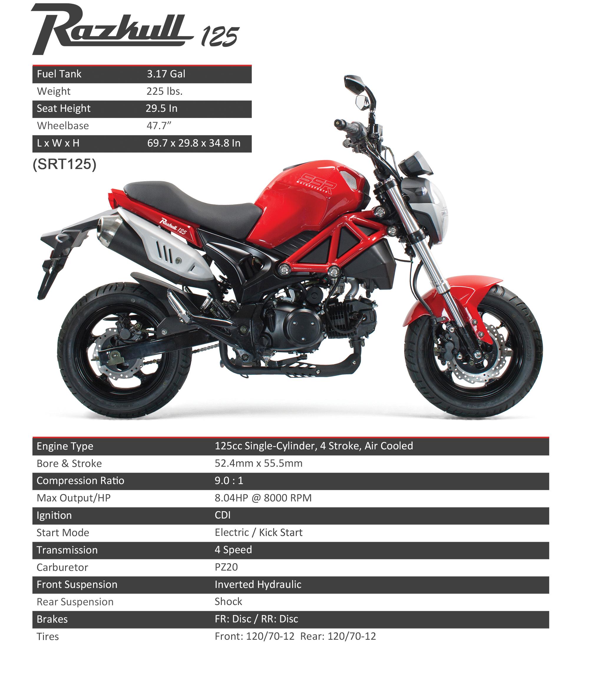 SSR Motorsports Razkull 125cc Mini Street Motorcycle - $1999