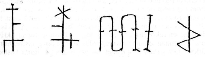 Dirck och Hans Hawerbekes bomärken samt inristningar på predellans resp. altarskåpets baksida. Teckning efter bilder i ATA