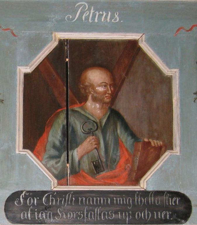 Aposteln Petrus. Målning på läktarbarriären av Magnus Wicander